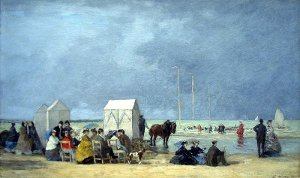 Eugène Boudin - L'heure du bain à Deauville (1865) - Washington, National Gallery of Art