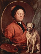 Le peintre et son dogue, autoportrait - 1745 (Londres, Tate Gallery)