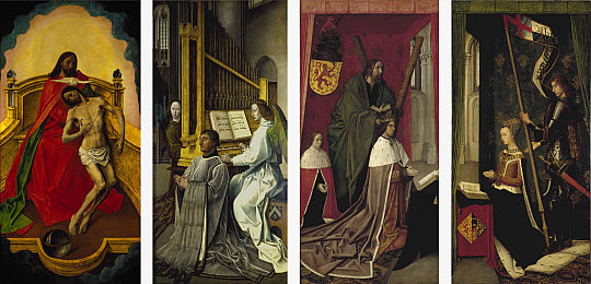 Hugo van der Goes - Retable de la Trinité, ou panneaux Bonkill, 1478 (Grande-Bretagne, Royal Collection)