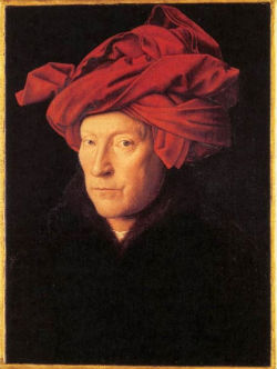 "Jan van Eyck ""L'homme au turban rouge"" (1433) Londres, National Gallery"